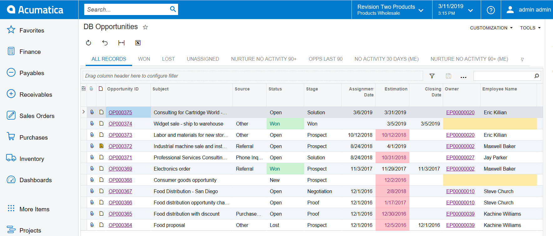 Acumatica 2019 R1 Conditional Highlighting